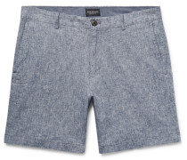 Baxter Slim-fit Stretch Linen And Cotton-blend Shorts