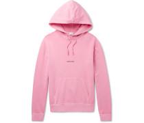 Logo-print Distressed Loopback Cotton-jersey Hoodie - Pink