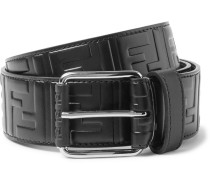 4.5cm Black Logo-embossed Leather Belt