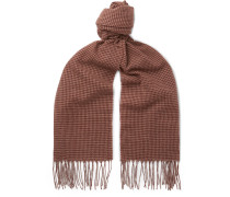 Fringed Houndstooth Cashmere Scarf - Brown