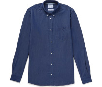 Anton Button-down Collar Denim Shirt - Mid denim