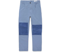 Patchwork Cotton-twill Trousers