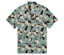 Camp-collar Printed Slub Cotton Shirt