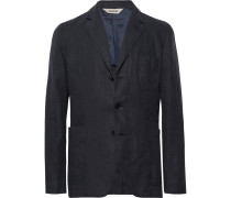 Midnight-blue Slim-fit Unstructured Linen Blazer - Midnight blue