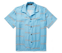 Camp-collar Printed Silk-twill Shirt - Light blue