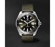 Aquaracer Limited Edition Quartz 43mm Steel And Webbing Watch - Army green