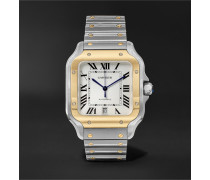 Santos Automatic 39.8mm 18-karat Gold Interchangeable Stainless Steel And Leather Watch - White