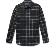 Oversized Checked Cotton-flannel Shirt - Dark green