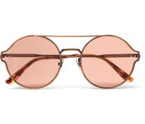 Round-frame Matte Bronze-tone Sunglasses