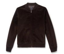 Barett Cotton And Linen-blend Velvet Bomber Jacket