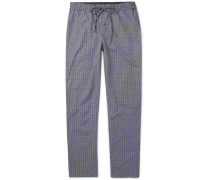 Checked Cotton Pyjama Trousers - Gray