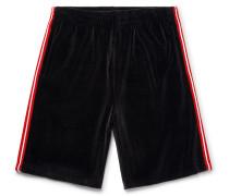Webbing-trimmed Velvet Drawstring Shorts - Black