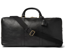 Medium Clipper Leather Holdall - Black
