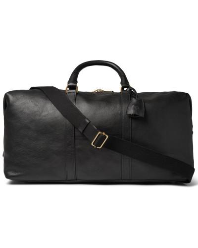Medium Clipper Leather Holdall - Black