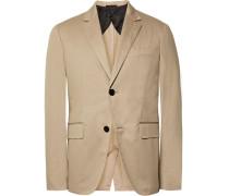 Beige Slim-fit Stretch-cotton Gabardine Suit Jacket