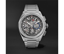 Defy El Primero 21 Chronograph 44mm Brushed-Titanium Watch, Ref. No. 95.9000.9004/78.M9000