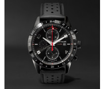 Timewalker Automatic Chronograph Utc 43mm Stainless Steel And Rubber Watch - Black