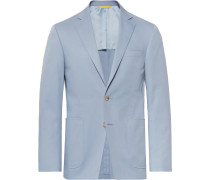 Light-blue Kei Slim-fit Stretch-cotton Suit Jacket - Blue