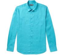 Caroubis Linen Shirt - Turquoise