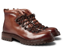 Manchester Shearling-Lined Grained Leather Hiking Boots