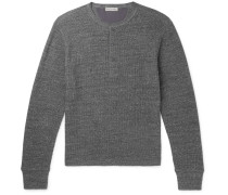 Waffle-knit Cotton Henley T-shirt - Charcoal