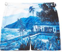 Bulldog Mid-length Printed Swim Shorts - Blue