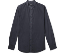 Grandad-collar Contrast-tipped Cotton Shirt