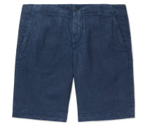 Slim-fit Garment-dyed Linen Drawstring Shorts - Navy