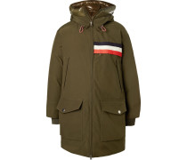 2 Moncler 1952 Oversized Striped Shell-trimmed Gabardine Hooded Parka