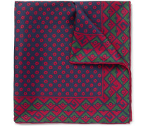 Printed Silk Pocket Square - Navy