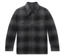 Checked Brushed Wool And Alpaca-blend Overshirt - Gray