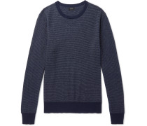 Mélange Cotton-piqué And Cashmere-blend Sweater