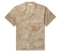 Camp-collar Tie-dyed Cotton-poplin Shirt - Beige