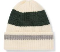 Striped Ribbed Merino Wool Beanie