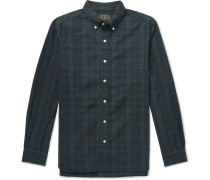 Button-down Collar Black Watch Checked Cotton Shirt - Navy