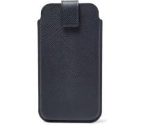 Panama Cross-grain Leather Iphone 8 Case - Midnight blue