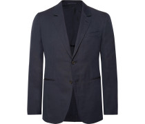 Midnight-blue Slim-fit Unstructured Herringbone Cotton And Linen-blend Blazer
