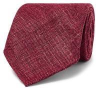 8cm Woven Mélange Wool, Silk And Linen-blend Tie - Burgundy