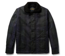 N-1 Black Watch Checked Shearling-lined Waxed-cotton Jacket