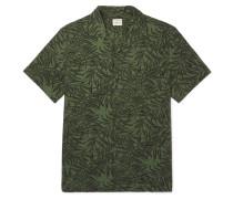 Camp-collar Printed Cotton-seersucker Shirt