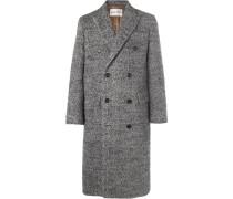 Alain Double-breasted Herringbone Wool-blend Coat - Gray
