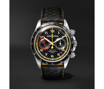 BR V2-94 R.S.18 Renault Limited Edition Chronograph 41mm Stainless Steel and Leather Watch, Ref. No. BR0392-D-BL-BR/SCA