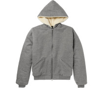 Faux Shearling-lined Cotton-blend Jersey Zip-up Hoodie