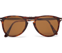 714 Folding D-frame Tortoiseshell Acetate Sunglasses - Brown