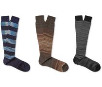 Three-pack Crochet-knit Cotton Socks