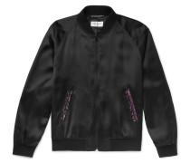 Embellished Satin Bomber Jacket - Black