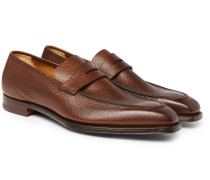 George Pebble-Grain Leather Penny Loafers
