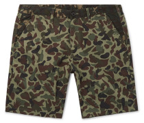 Camouflage-print Cotton Shorts - Green