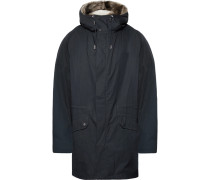 Shearling-lined Cotton-blend Hooded Down Parka - Navy