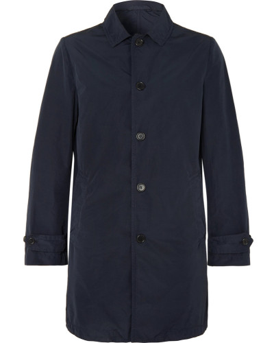 Slim-fit Garment-dyed Shell Trench Coat - Navy